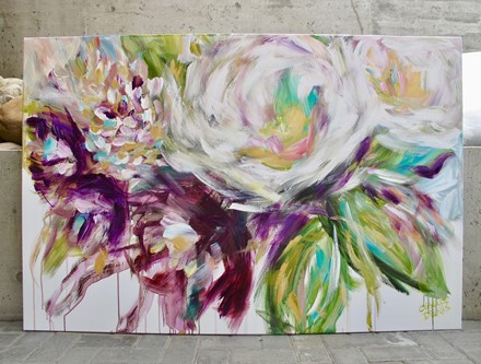 Painting by Giselle Denis Canadian fine artist of abstract flowers