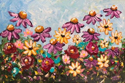 Painting by Giselle Denis Canadian fine artist of purple, yellow, red and pink field of flowers under a blue sky.