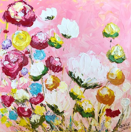 Painting by Giselle Denis Canadian fine artist of white, red, orange and grey flowers on a pink background.