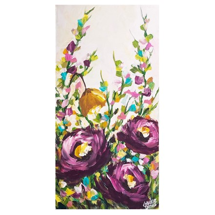 Painting by Giselle Denis Canadian fine artist of purple flowers with colourful foliage.