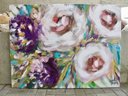 Painting by Giselle Denis Canadian fine artist of white and purple flowers