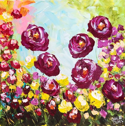 Painting by Giselle Denis Canadian fine artist of red poppies flowers with yellow and burgundy under a pink green and blue sky.