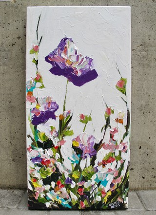painting by Giselle Denis Fine Artist of purple flowers and blossoms on a white background