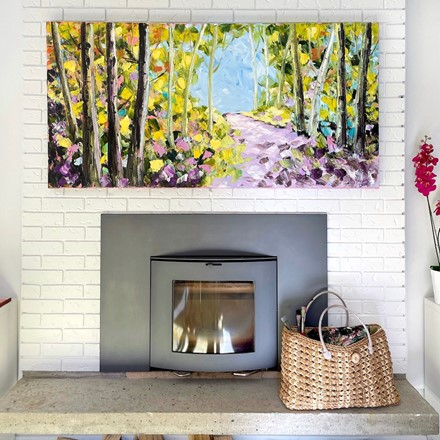 Painting by Giselle Denis Canadian fine artist of a fall forest with a purple pathway.