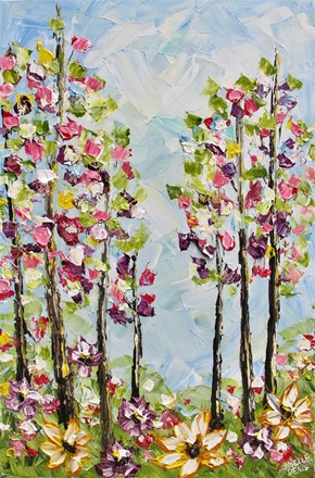 Painting by Giselle Denis Canadian fine artist of a colourful forest with wildflowers