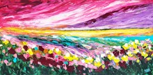 Painting by Giselle Denis Canadian fine artist of a abstracted Alberta sky with pink, purple and red. A yellow horizon with blue, red, pink, yellow and green flowers in a field.