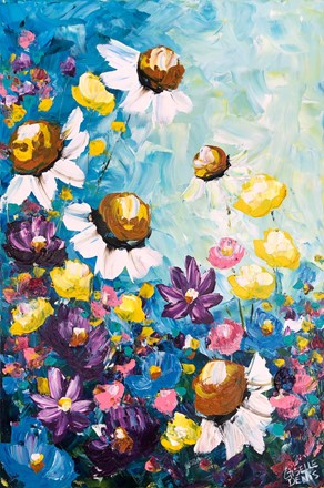 Painting by Giselle Denis Canadian fine artist of white, yellow, purple and pink flowers on a blue background with colourful foliage.
