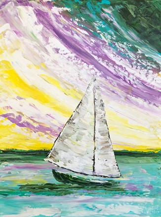 Painting by Giselle Denis Canadian fine artist of a white sailboat on an ocean under a blue, purple yellow sky.
