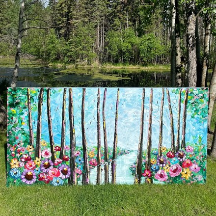 Painting by Giselle Denis Canadian fine artist of a colourful forest with flowers in the foreground and a creek flowing through it.