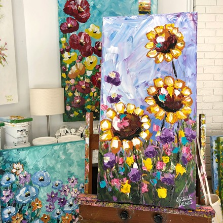 Painting by Giselle Denis Canadian fine artist of sunflowers with colourful wildflowers.