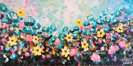 Painting by Giselle Denis Canadian fine artist of blue, pink and yellow wildflowers under a blue sky.