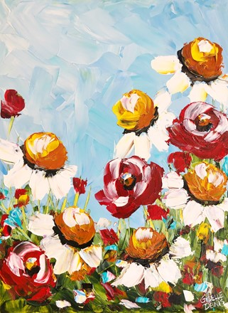 Painting by Giselle Denis Canadian fine artist of daisies and red poppies under a blue sky.