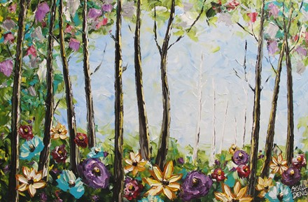painting by Giselle Denis Fine Artist of a colourful forest with wildflowers