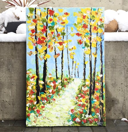 Painting by Giselle Denis Canadian fine artist of fall forest with a pathway.
