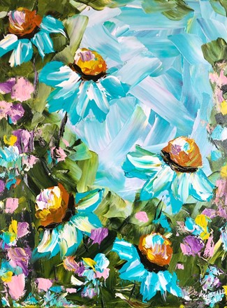 Painting by Giselle Denis Canadian fine artist of blue flowers with pinks, oranges and yellows on a blue sky background.