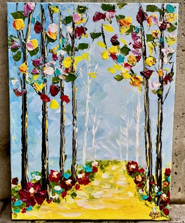 Painting by Giselle Denis Canadian fine artist of a colourful forest with a yellow pathway under a blue sky.