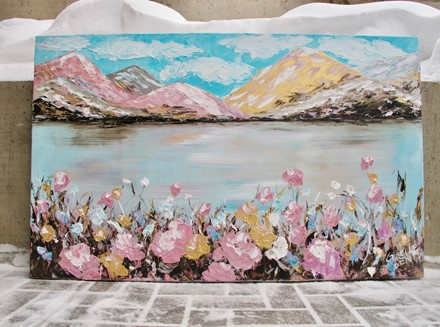 Painting by Giselle Denis Canadian fine artist of pastel coloured mountains, a lake and wildflowers