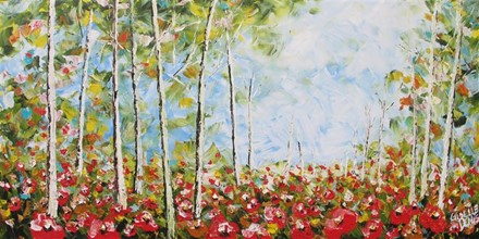 Painting by Giselle Denis Canadian fine artist of a forest with poppies