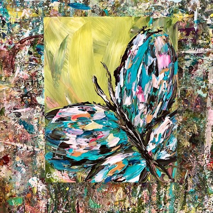 Painting by Giselle Denis Canadian fine artist of a turquoise butterfly on a green background.