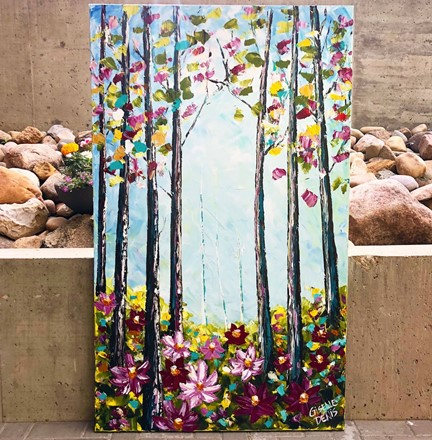 Painting by Giselle Denis Canadian fine artist of a tall colourful forest with flowers in the foreground on a blue sky background