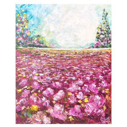 Painting by Giselle Denis Canadian fine artist of a field of purple and pink flowers under a blue sky.