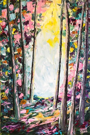 Painting by Giselle Denis Canadian fine artist of a colourful forest with a pathway.