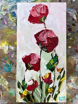 Painting by Giselle Denis Canadian fine artist of red flowers on a white background.