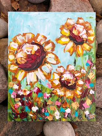 Painting by Giselle Denis Canadian fine artist of three sunflowers under a blue sky.