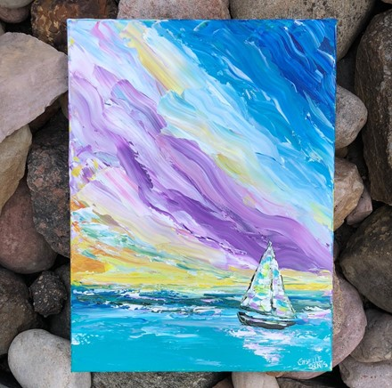 Painting by Giselle Denis Canadian fine artist of a sailboat on the ocean on a colourful sky background.