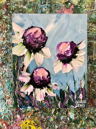 Painting by Giselle Denis Canadian fine artist of white daisies under a blue sky background.