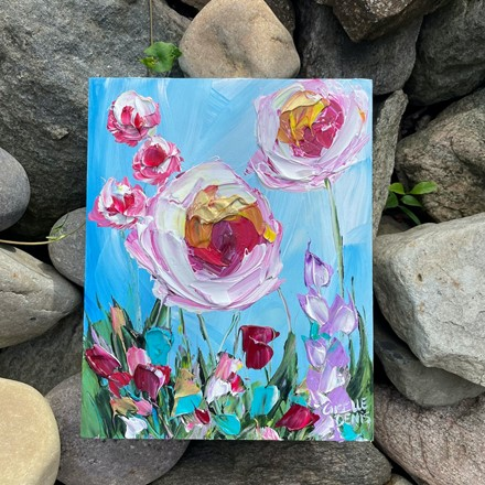 Painting by Giselle Denis Canadian fine artist of white and pink flowers on a blue background.