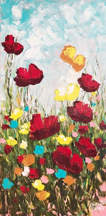 Painting by Giselle Denis Canadian fine artist of red, yellow and orange poppies under a blue sky.