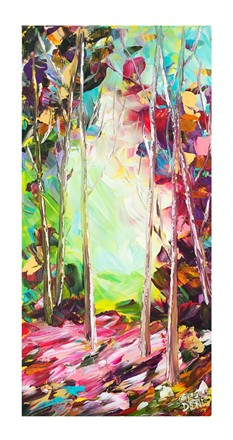 Painting by Giselle Denis Canadian fine artist of a colourful forest with colourful light and foliage.