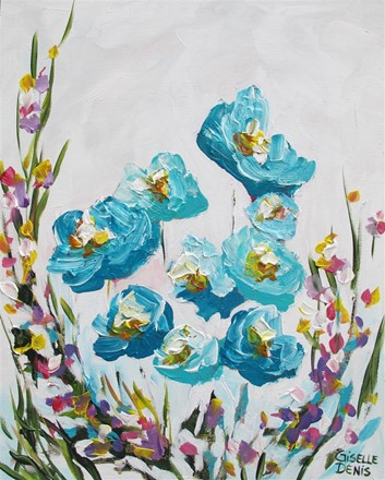 Painting by Giselle Denis Canadian fine artist of blue flowers on a white background