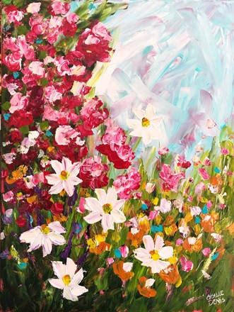 Painting by Giselle Denis Canadian fine artist of a field of white daisies and pink flowers under a blue sky.
