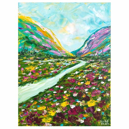 Painting by Giselle Denis Canadian fine artist of colourful mountains with a stream and wildflowers under a blue sky.