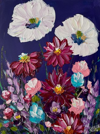Painting by Giselle Denis Canadian fine artist of white, red pink and blue flowers on a dark blue background.