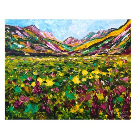 Painting by Giselle Denis Canadian fine artist of colourful mountains with a field of wildflowers under a blue sky.