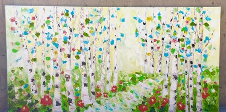 Painting by Giselle Denis Canadian fine artist of birch trees with poppies and a pathway.