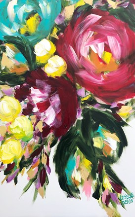 Painting by Giselle Denis Canadian fine artist of a large pink flower, large burgundy flowers with red and a teal flower on a white background.