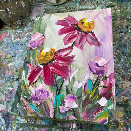Painting by Giselle Denis Canadian fine artist of pink magenta flowers.