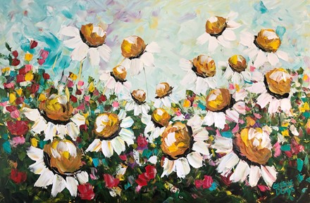 Painting by Giselle Denis Canadian fine artist of large daisy cone flowers with colourful wildflowers under a blue sky.