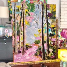 Painting by Giselle Denis Canadian fine artist of a colourful fall forest with a pink pathway.