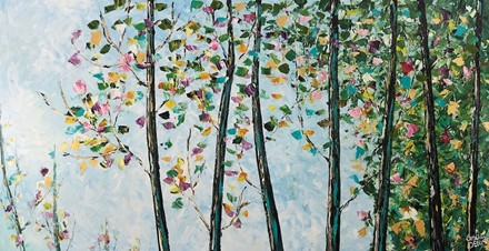 Painting by Giselle Denis Canadian fine artist of the top of a forest with colourful foliage under a blue sky.