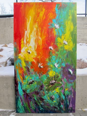 Painting by Giselle Denis Canadian fine artist of reds, greens, yellow and blue flowers