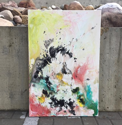 Abstract Painting by Giselle Denis Canadian fine artist of splashes of black pink, blue, yellow and green paint