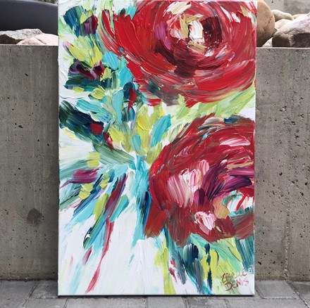 Canadian painting by Giselle Denis fine artist of large, bold abstract red flowers