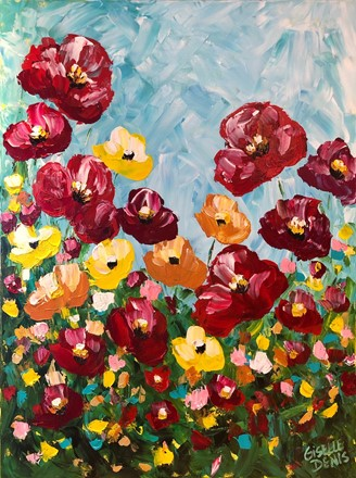 Painting by Giselle Denis Canadian fine artist of red, orange and yellow poppies  under a blue sky.