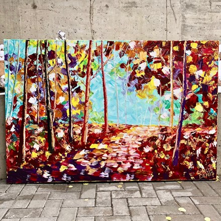Painting by Giselle Denis Canadian fine artist of a fall forest with a pathway.