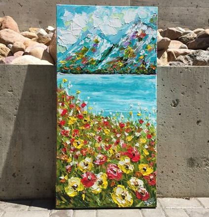 Painting by Giselle Denis Canadian fine artist of colourful mountains with poppies